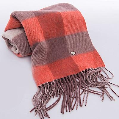 ELLE格紋設計羊毛親膚保暖2面雙色圍巾-咖
