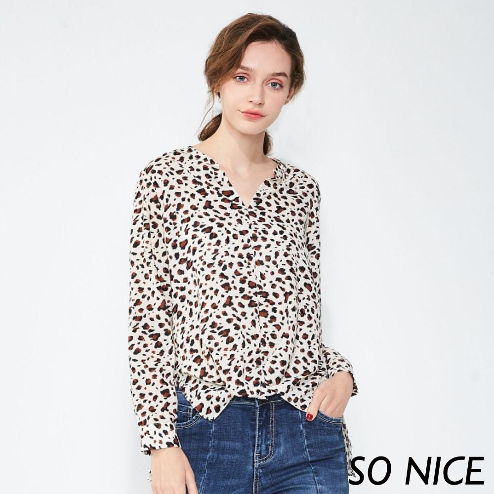 SO NICE時尚豹紋印花雪紡上衣