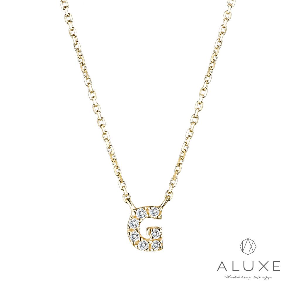 ALUXE亞立詩Alphabet系列10K鑽石項鍊-G
