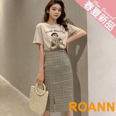 落肩短袖T恤+開衩格紋窄裙兩件套 (格紋)-ROANN