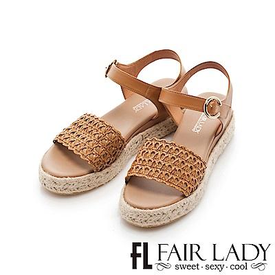 Fair Lady 編織皮革拼接草編厚底涼鞋 棕