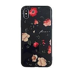 【TOYSELECT】iPhone XR 黑底玫瑰文藝 9H抗刮玻璃手機殼