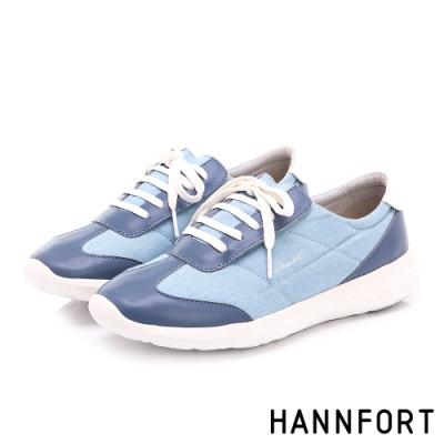 HANNFORT ICE 易撕套入式丹寧氣墊休閒鞋-女-淺藍