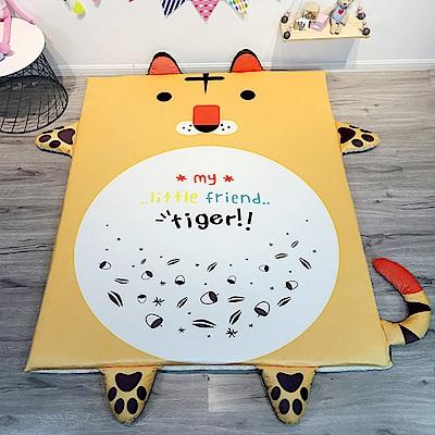 HUEI生活提案 水晶絨 可拆洗動物造型兒童床墊 可愛虎
