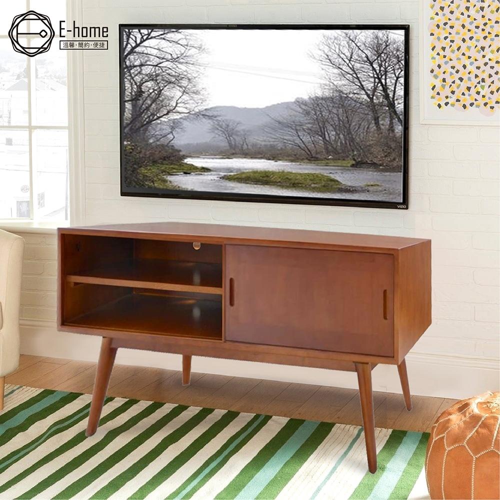 E-home Barbara芭芭拉二空單滑門全實木多媒體收納電視櫃-兩色可選 119x40x56