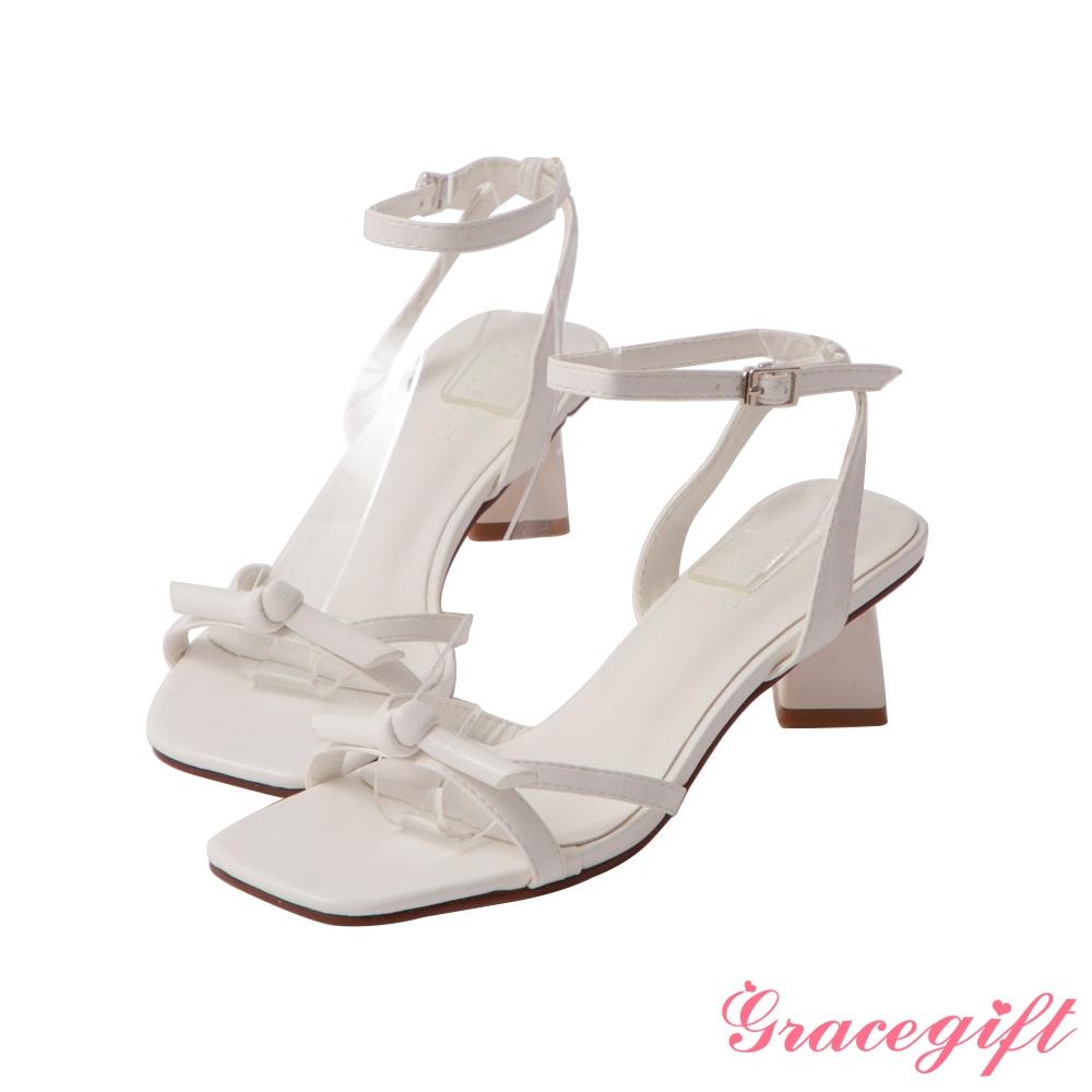 Grace gift-綁結繫踝中跟涼鞋 白