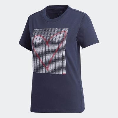 adidas 短袖上衣 運動 訓練 休閒 女款 藍 GD4997 ADI HEART GRAPHIC TEE