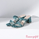 Grace gift X Ann-聯名細帶斜方頭中跟涼鞋 藍蛇紋 product thumbnail 1