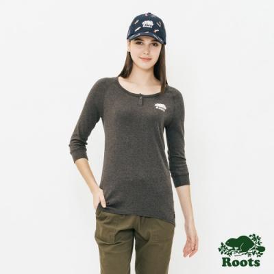 ROOTS女裝 V開領長袖T恤 -黑