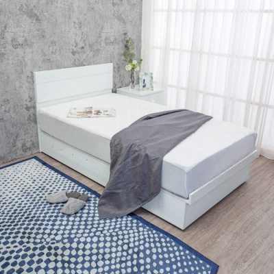 Birdie南亞塑鋼-3.5尺單人尾掀收納型塑鋼床組(床頭片+後掀床底)(不含床墊)(白色)