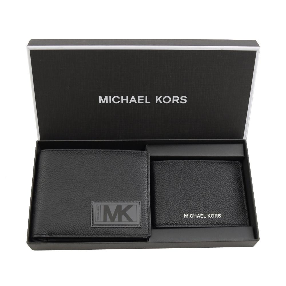 MICHAEL KORS GIFTING 荔枝牛皮八卡對開短夾禮盒組(黑/灰)