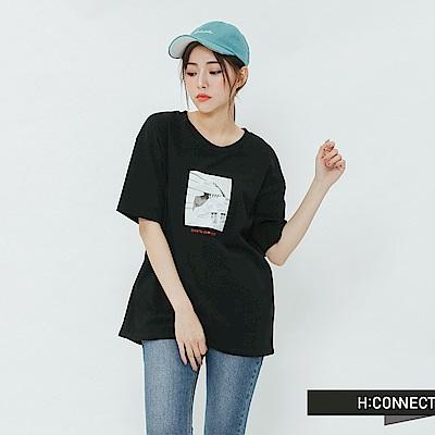 H:CONNECT 韓國品牌 女裝-標語圖印棉質T-shirt-黑