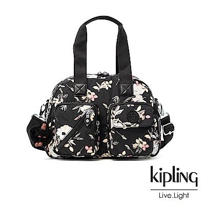 Kipling 沉靜黑浪漫花卉多層實用手提側背包-DEFEA UP