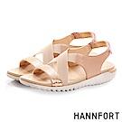 HANNFORT Ultra Flex 3D金屬感時尚交叉涼鞋-女-瑰密粉