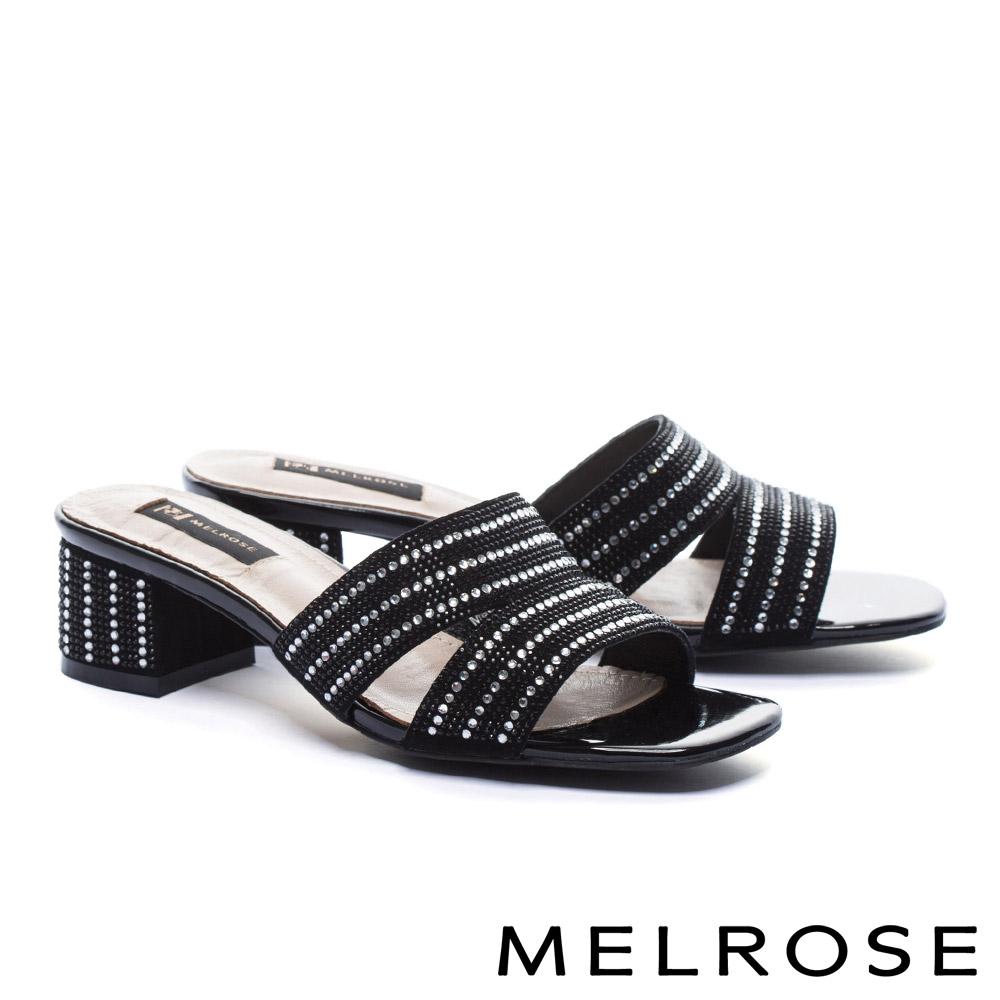拖鞋 MELROSE 雙色排鑽羊麂皮高跟拖鞋-黑