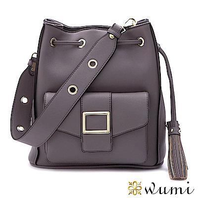 WuMi 無米 維多莉亞束口水桶包 煙燻紫