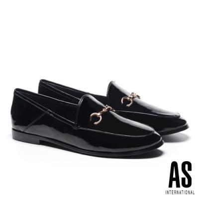 低跟鞋 AS 復刻經典時尚馬銜釦全真皮樂福低跟鞋-黑