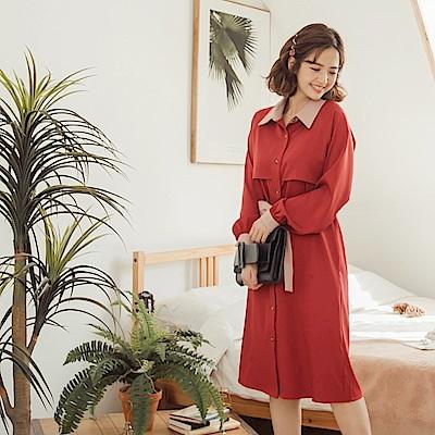 iMODA STAR-臧芮軒。襯衫領配色附綁帶修身排釦長袖洋裝