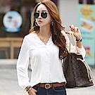 正韓 V領蕾絲邊縮口長袖襯衫 (白色)-N.C21