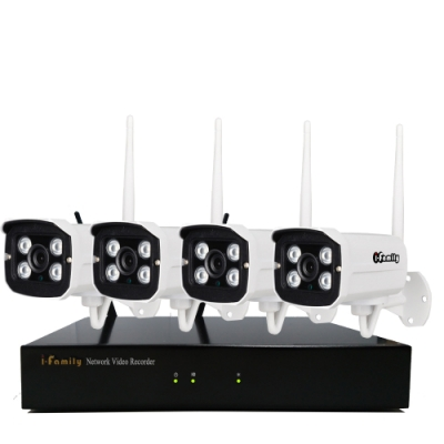I-Family免施工免設定3百萬畫素八路式無線監視錄影套裝組NVR+四鏡頭