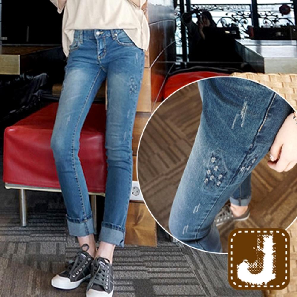 正韓 水紋抓破顯瘦丹寧窄管褲-(水洗藍)100%Korea Jeans