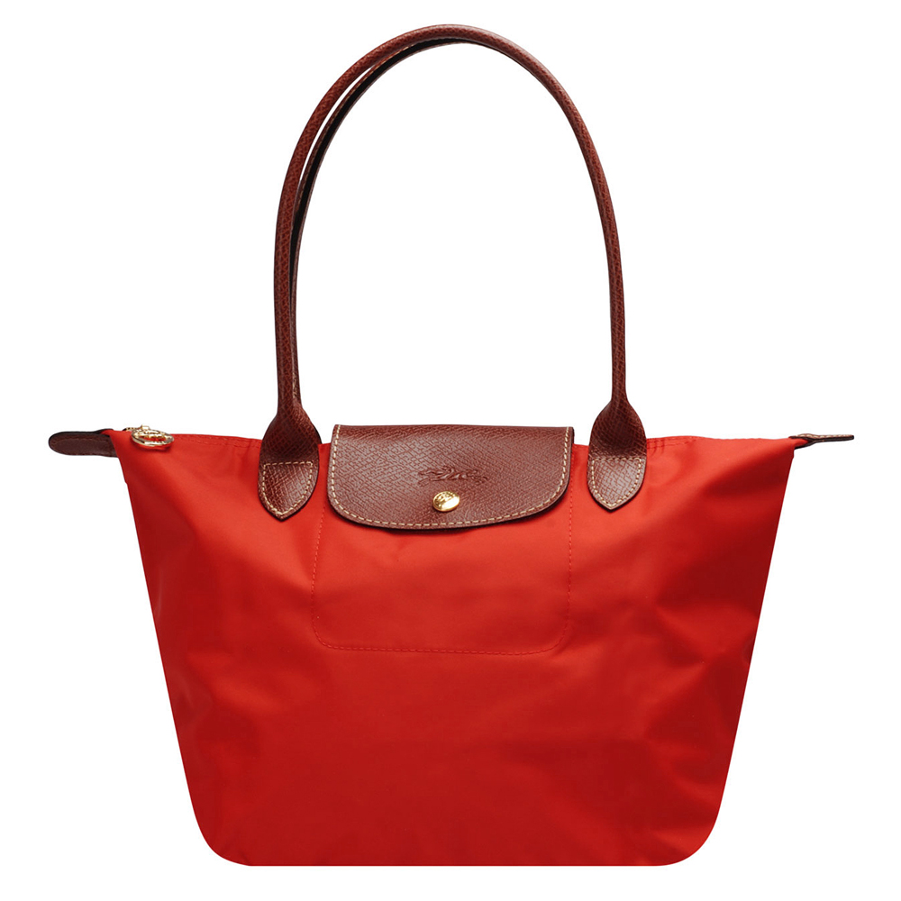 LONGCHAMP 經典 Le Pliage系列摺疊長提把水餃手提包(小-磚紅色)