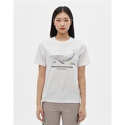 NATIONAL GEOGRAPHIC COATI FRONT WHALE 男女  短袖T恤 GREEN TEE系列-鯨魚 白-N212UTS070010
