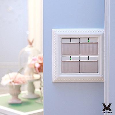 【VaMarssa】四方匯財 冷漿陶瓷 插座卡準式開關蓋板-白
