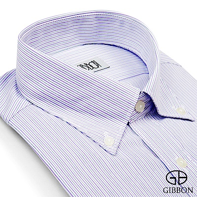GIBBON 優雅緹花條紋長袖襯衫‧紫色