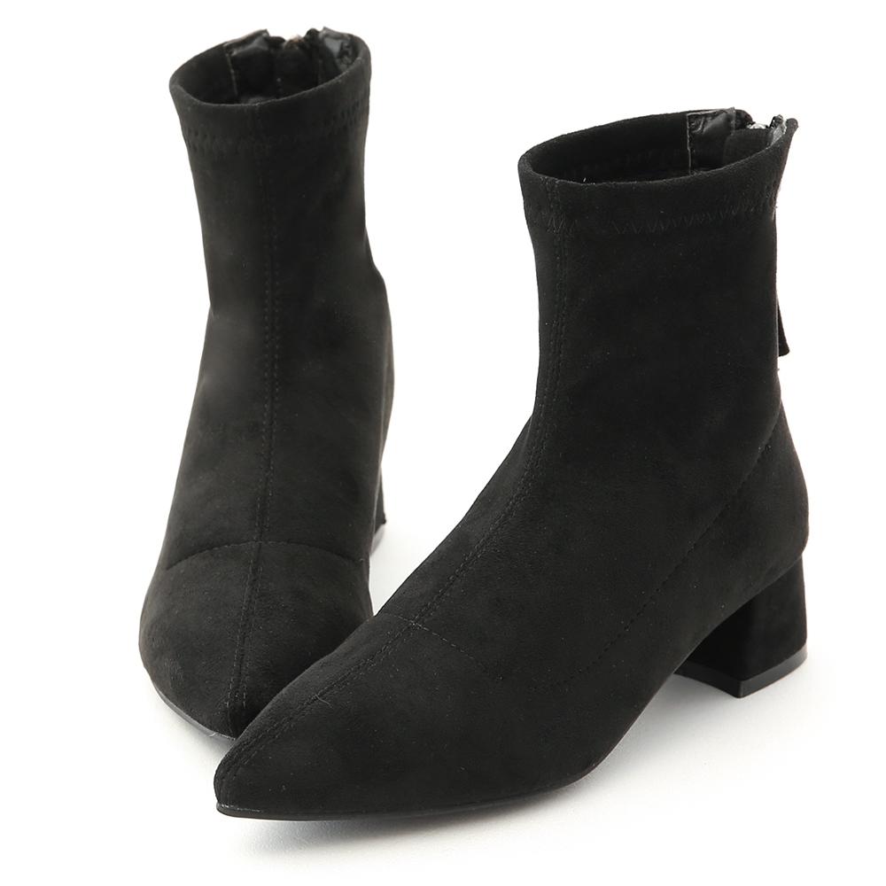 D+AF 時尚氣質.尖頭後拉鍊低跟襪靴*黑