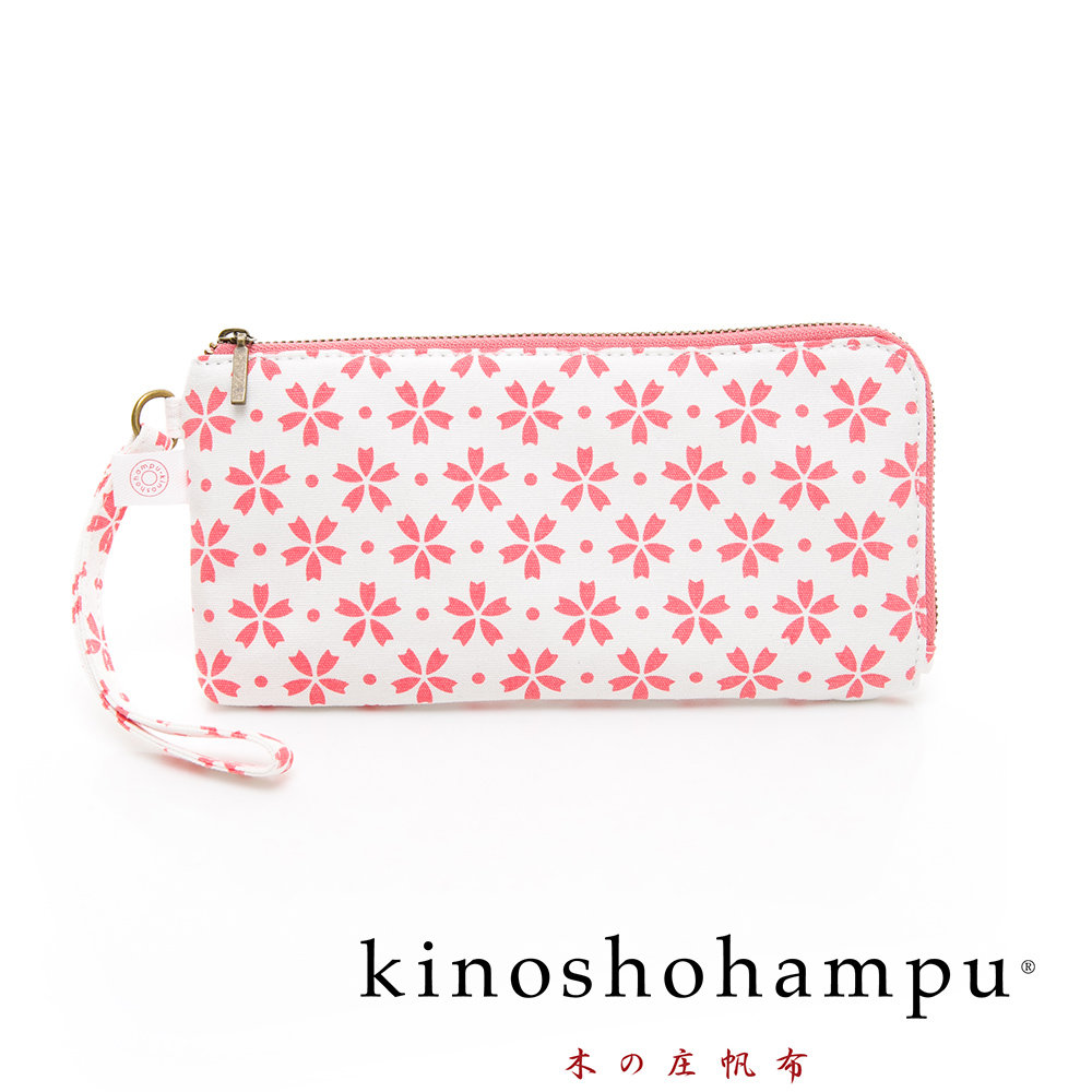 kinoshohampu貴族和柄帆布手拎包 櫻花粉