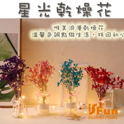 iSFun 星光乾燥花 甜美緞帶玻璃瓶銅線燈 2色可選