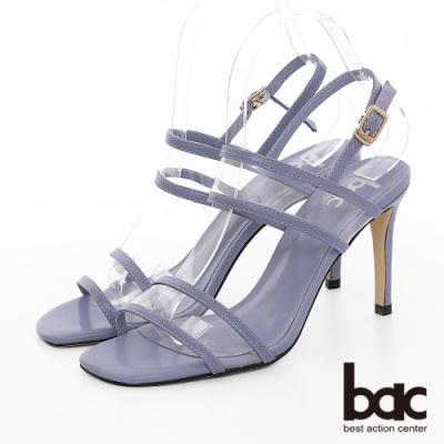 【bac】紐約不夜城 - 異材質拼接PVC透明感細跟高跟涼鞋-藍色