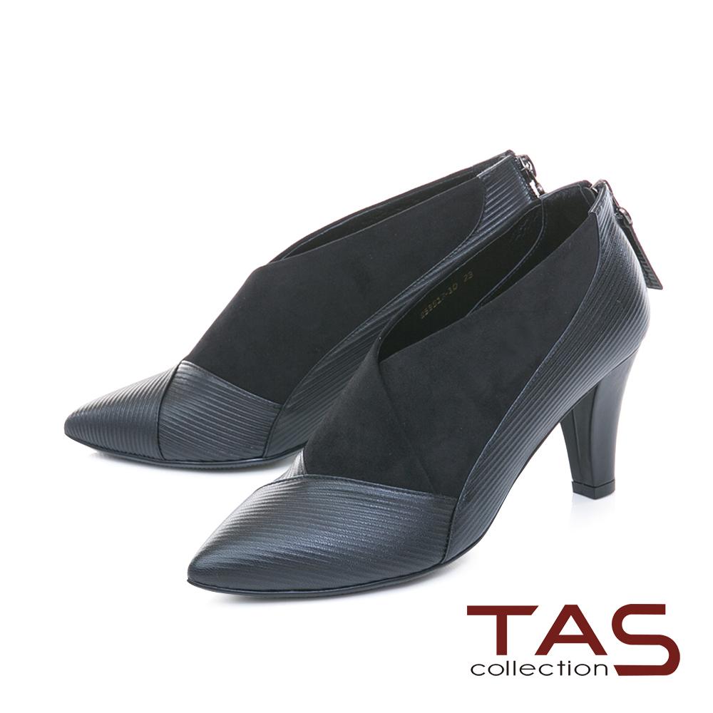 TAS 曲線壓紋拼接彈力絨布高跟踝靴–質感黑