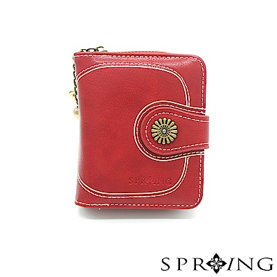 SPRING-日光系列-拉鍊式短夾-寶石紅