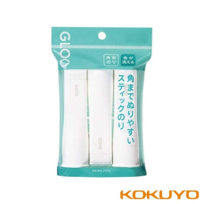 KOKUYO GLOO 方形口紅膠消色型-M藍(22g)3入