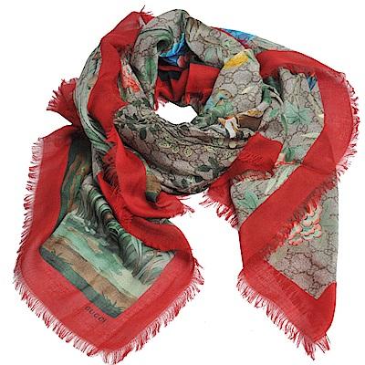 Gucci Tian 國畫風花鳥圖騰GG LOGO造型披肩/圍巾(紅/424456)