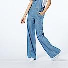 Victoria 中藍天絲棉吊帶寬褲-女-淺藍