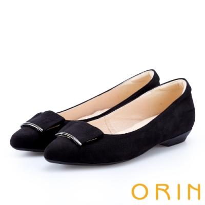 ORIN 優雅OL 絨面方版布飾低跟鞋-黑色