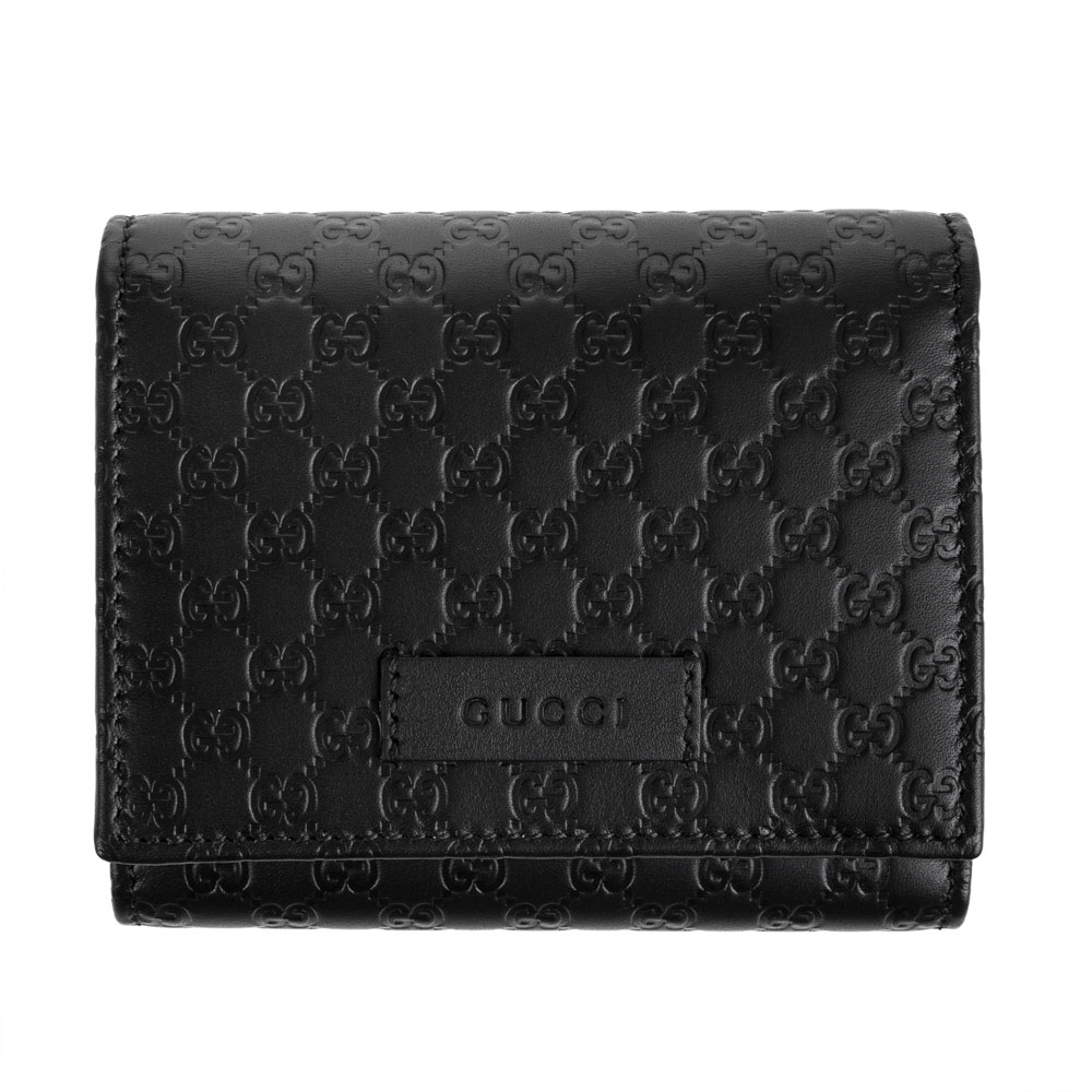 GUCCI經典Guccissima系列雙G壓紋LOGO牛皮釦式三折短夾 (黑色)GUCCI
