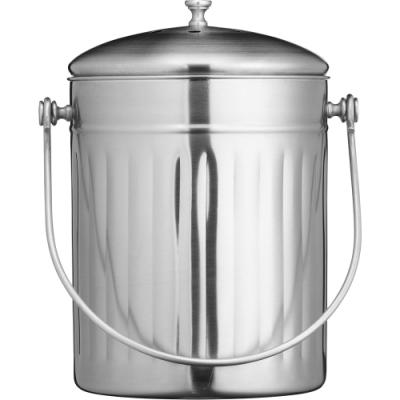 《KitchenCraft》復古不鏽鋼廚餘桶(5L)