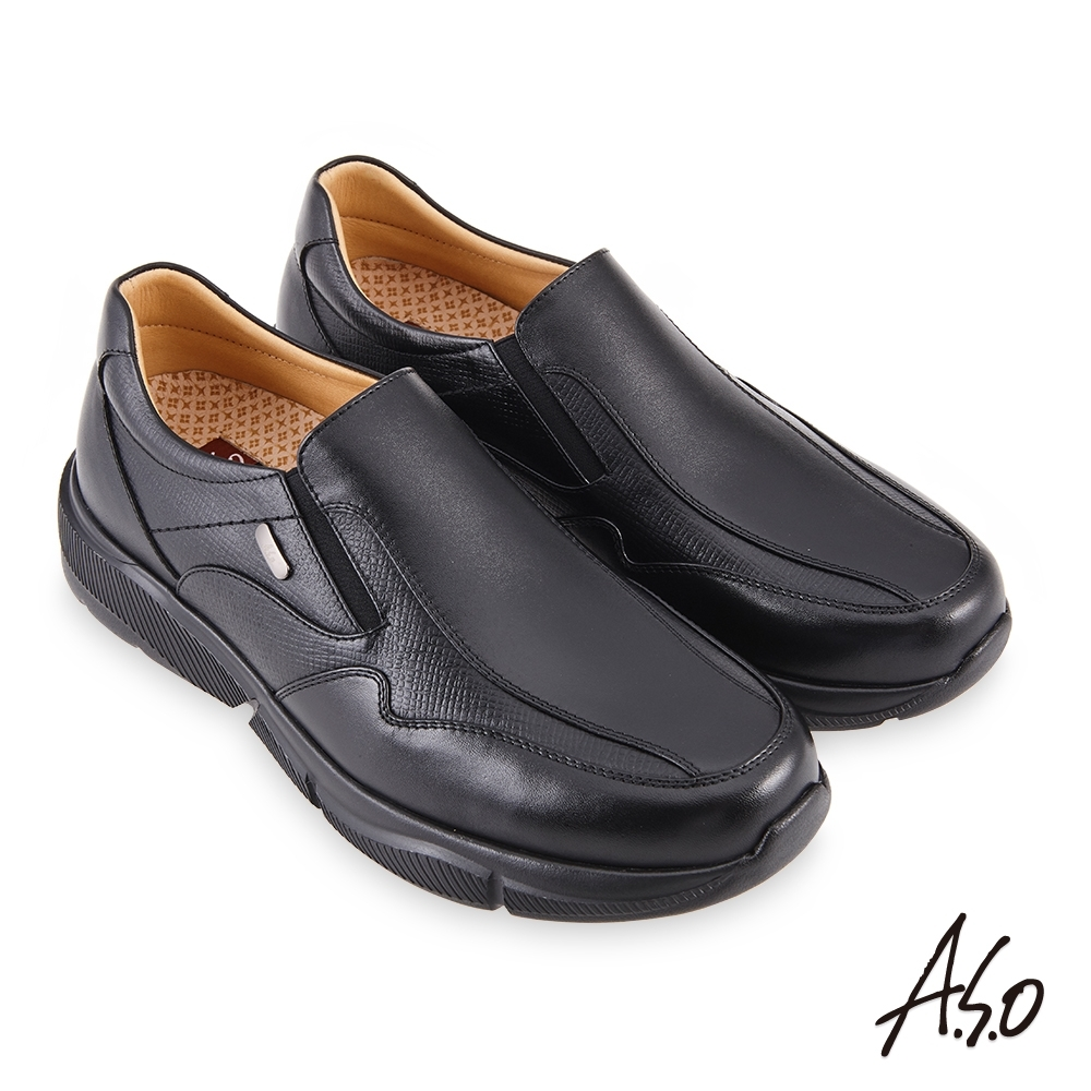 A.S.O 機能休閒 3D超動能直套商務休閒鞋-黑