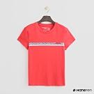 Hang Ten - 女裝 - 有機棉-黑白棋格造型短T - 紅
