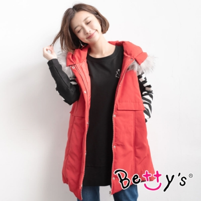 betty's貝蒂思 經典色塊拼接連帽背心外套(紅色)