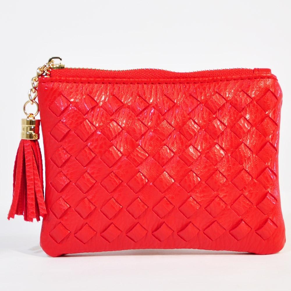 Miyo穿織流蘇拉鍊小錢包(紅)