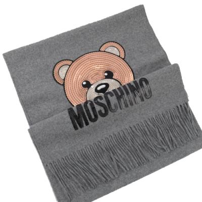 MOSCHINO 亮片小熊圖樣羊毛圍巾(淺灰)