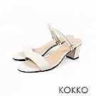 KOKKO - 簡單生活線條感真皮高跟涼鞋 - 優雅白