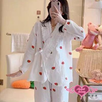 哺乳衣 草莓甜心 棉質長袖孕婦裝月子服 舒適居家服睡衣 (白色F) AngelHoney天使霓裳