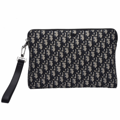 Dior 經典膠面LOGO OBLIQUE緹花布小牛皮飾邊拉鍊手拿包(藍)