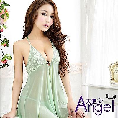 Angel天使 露乳性感睡衣三點式情趣內衣誘惑套裝 BP090 綠